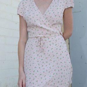 pink brandy wrap dress
